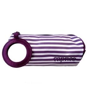 کیف لوازم آرایشی کاپریس مدل راه راه ساتن آینه دار Caprice Striped Stine Bag With mirror