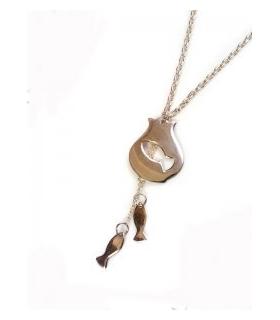 گردنبند دستساز نقره طرح تنگ و ماهی کد S139