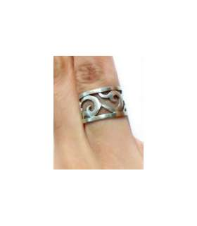 انگشتر نقره دست ساز طرح گل و بته کد S130
