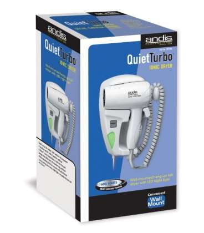 سشوار دیواری اندیس مدل Andis 1600W Quiet Hangup Hair Dryer with Night Light, White 30975