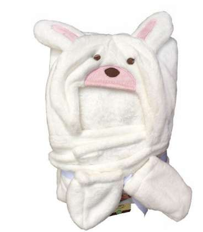 پتوی کلاهدار کارترز با پاپوش سفید طرح خرگوش صورتی Carters pink rabbit Blankets  