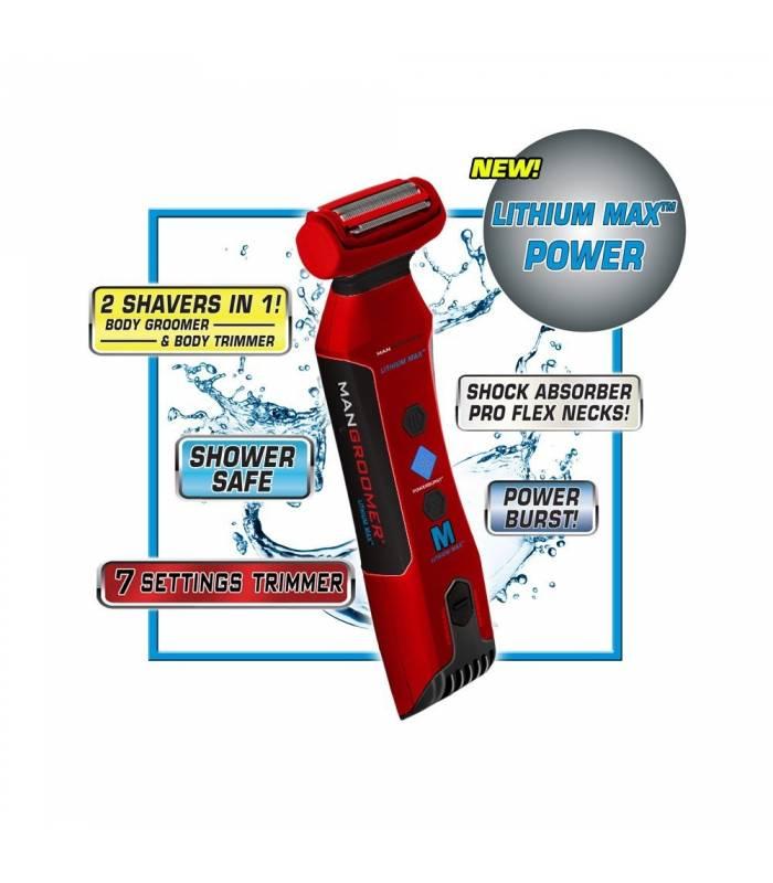 ماشین اصلاح بدن من گرومر مردانه دوطرفه mangroomer lithium max body groomer and body trimmer with power burst