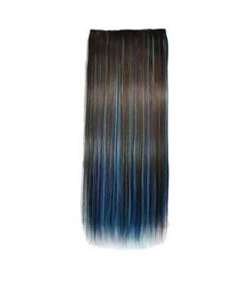 مو تکه ای سه رنگ ABWIN 22 Inch Brown Mixed Sky Blue and Dark Blue 3 Color Dip-dye Straight Full Head Clip in Hair Extension