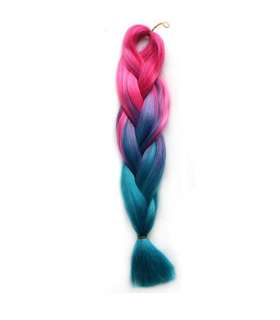 مو تکه ای بافته شده دو رنگ Abwin Peach Pink to Sky Blue Twist Hair Extension
