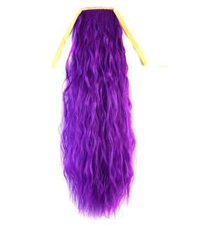 مو تکه ای بلند بنفش دم اسبی Abwin Purple Color Long Ponytail Pony Curly Wave Clip Tie