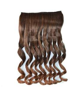 مو تکه ای دو رنگ حجم دهنده Abwin Muedium Brown to Golden Brown Wavy Clip in Hair Extensions