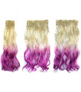 مو تکه ای زنانه و دخترانه دو رنگ ABWIN Beige to Violet Hair Extension for Woman