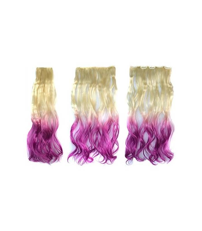 مو تکه ای زنانه و دخترانه دو رنگ ABWIN Beige to Violet Hair Extension for Woman |