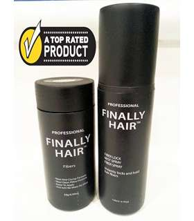 پودر پرپشت کننده مو و اسپری تثبیت کننده Building Fibers 28g Bottle of Fibers and Finally Hair of Fiber Lock Hair Spray