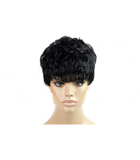 کلاه گیس کوتاه HSG Afro Short Curly Wigs Wavy Natural with Fringe Bangs TF1214