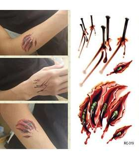 زخم مصنوعی جای میخ و چنگ Waterproof Temporary Tattoo Fake Sticker Nails Scar