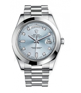 ساعت مچی رولکس مدل Rolex Day-Date II 41 President Platinum Watch Ice Blue Diamond Dial 218206