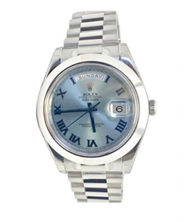 ساعت مچی مردانه رولکس مدل Rolex Datejust II 41mm Ice Blue Dial Platinum President Mens Watch 218206