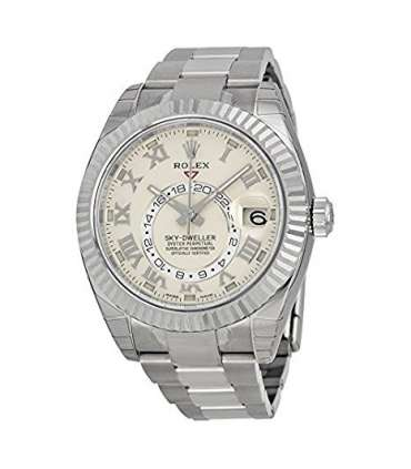 ساعت مچی مردانه رولکس اتوماتیک Rolex Sky Dweller Ivory Roman Dial GMT 18k White Gold Mens Watch 326939IVRO