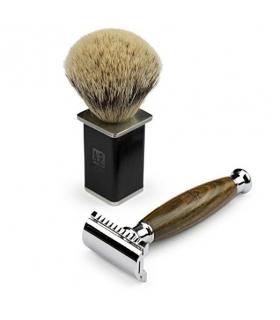 دسته تیغ و قلم موی کف اصلاح داناوان A.P. Donovan Luxury safety razor from green juniper wood
