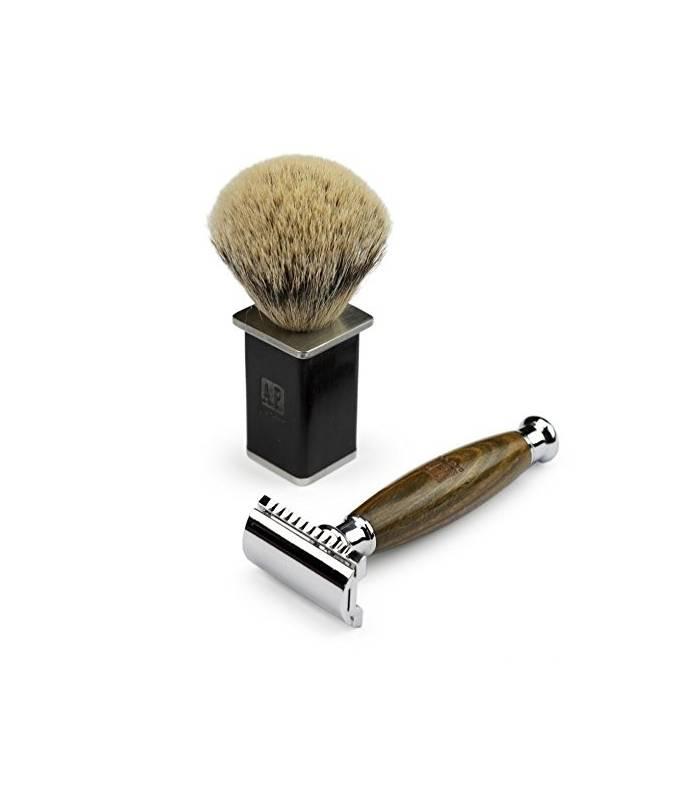 تیغ و قلم موی کف اصلاح داناوان A.P. Donovan Luxury safety razor from green juniper wood  