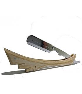 تیغ و دسته تیغ آرایشگری کلاسیک باربر Wooden Straight Razor Natural Wood Color Barbering Razor