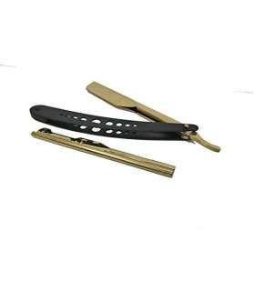 دسته تیغ اصلاح کلاسیک باربر Barber Straight Edge Razor Matte Slide Out Gold Holder