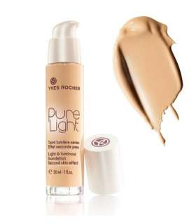 کرم پودر پمپی پیور لایت ایوروشه رنگ بژ 100 Yves Rocher Pure Light Foundation