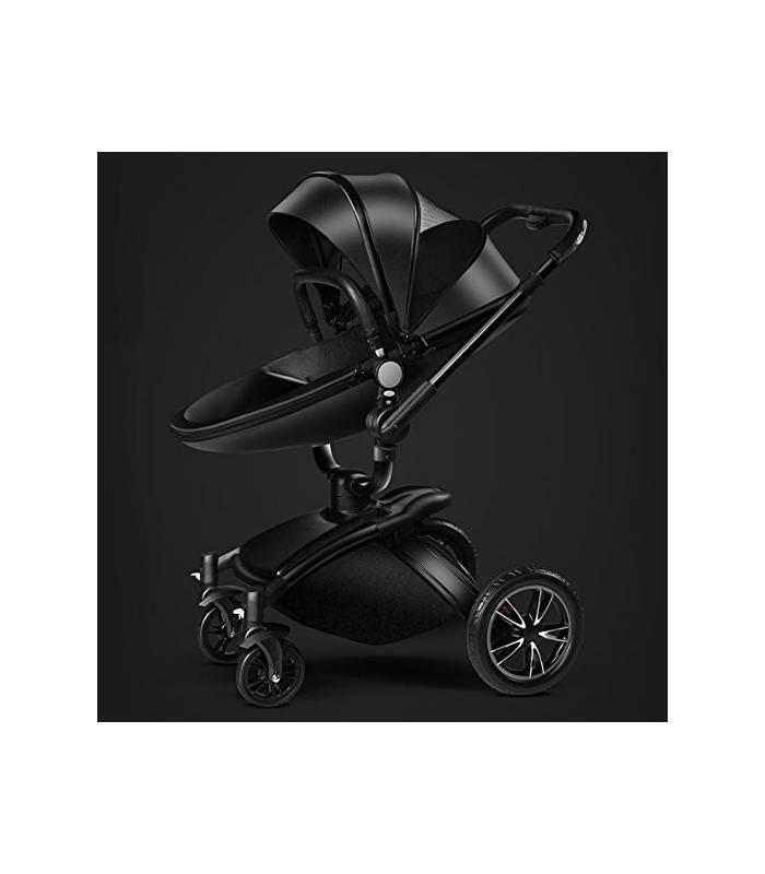 کالسکه و ساک حمل آیکی دو طرفه چرم مشکی AIQI Baby Stroller Travel System