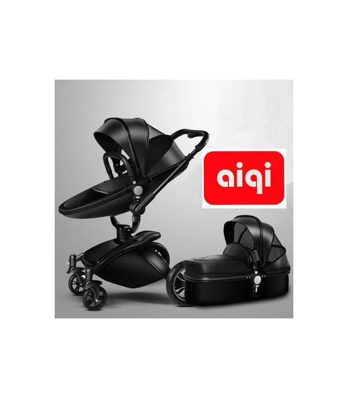 کالسکه و ساک حمل آیکی دو طرفه چرم مشکی AIQI Baby Stroller Travel System |