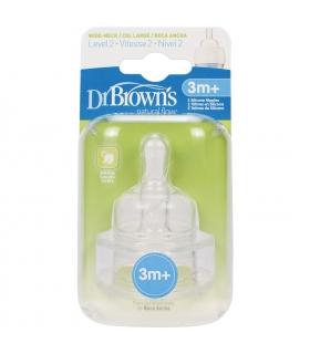 سر شیشه دکتر براون 2 عددی 3 ماهه لول 2 دی 372 Dr Brown's Teats D372 for 3m Level 2