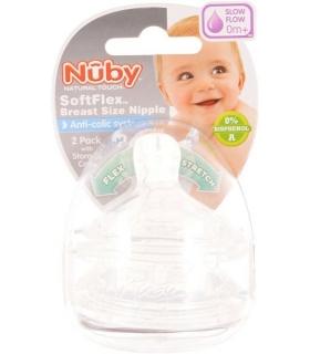 سر شیشه نابی 2 عددی بدو تولد یک قطره Nuby Teats ID67660 for 0m Level 1
