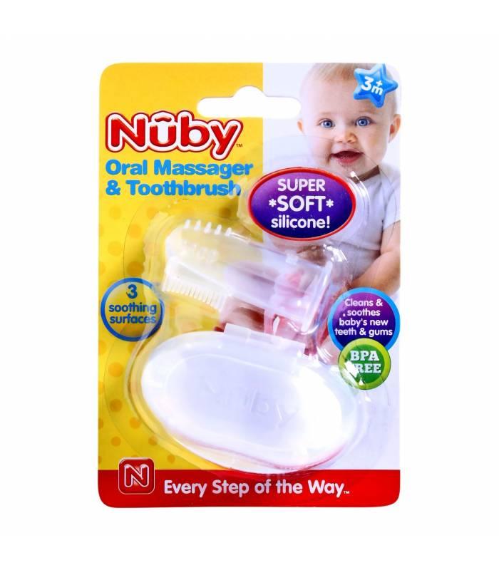 مسواک انگشتی نابی همراه با جعبه Nuby ID730 Oral Massager and Toothbrush