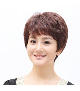 کلاه گیس گو اکشن زنانه طبیعی و کوتاه Gooaction Short Slight Curl Women Wig Human Hair
