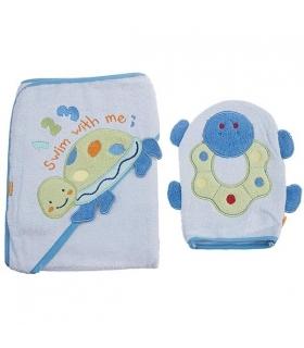 حوله کلاهدار و لیف بات طرح سوییم ویت می Baat 204 Swim With Me Baby Towel And Mitt