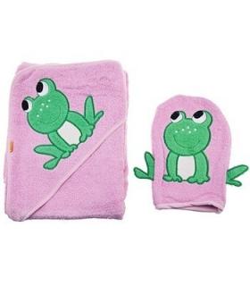 حوله کلاهدار و لیف بات طرح قورباغه Baat 204 Frog Baby Towel And Mitt