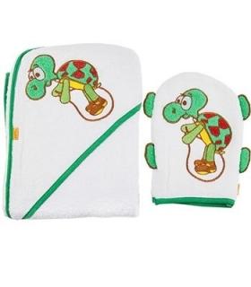 حوله کلاهدار و لیف بات طرح لاک پشت Baat 204 Turtle Baby Towel And Mitt