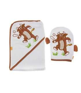حوله کلاهدار و لیف بات طرح بوفالو Baat 204 Buffalo Baby Towel And Mitt
