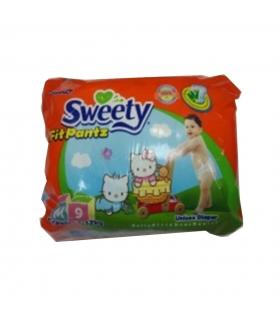 پوشک شورتی سوییتی بسته 9 عددی سایز متوسط Sweety 1108 Diaper Size M Pack of 9