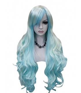 کلاه گیس کالیس زنانه مدل بلند و مجعد فانتزی Kalyss Synthetic womens wig White and Blue