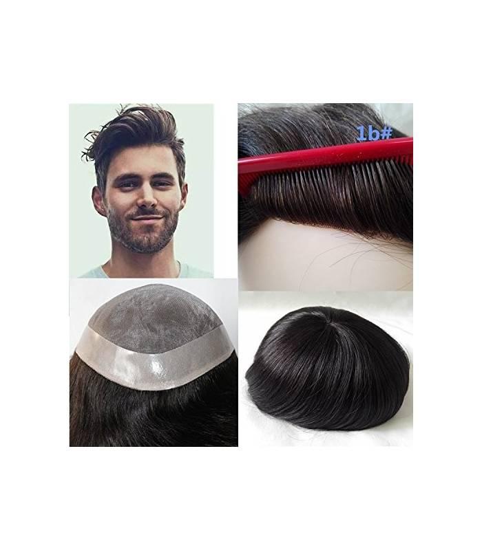 پروتز موی مردانه لومنگ مشکی طبیعی با ماندگاری بالا Lumeng Wigs Super Durable Off Black |