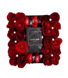 گیفت ست عطر با گل رز قرمز و شکلات