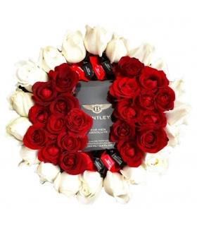 پک هدیه عطر با گل رز قرمز و سفید و شکلات