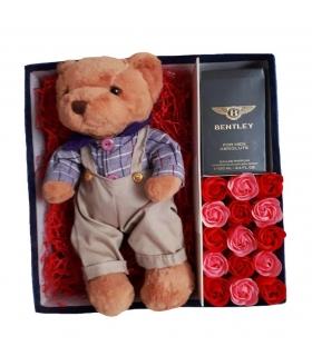 پک هدیه عطر با خرس و گل صابونی