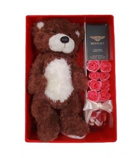 پکیج هدیه عطر با خرس و گل صابونی و پاستیل