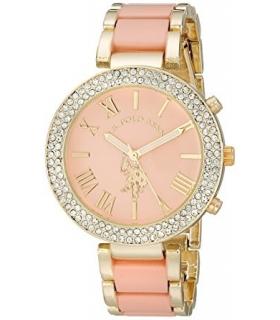 ساعت زنانه یو اس پولو 40063 طلایی صورتی نگین دار U.S. Polo Assn. Women's USC40063 Gold Tone and Pink Watch