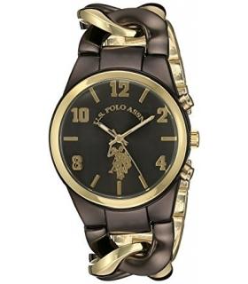 ساعت زنانه یو اس پولو 40177 طلایی قهوه ای U.S. Polo Assn. Women's USC40177 Gold Tone and Brown Watch
