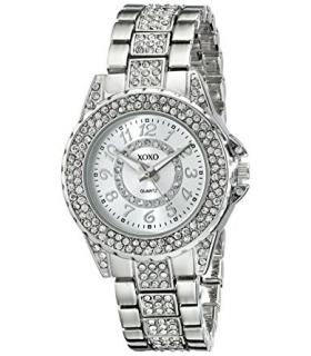 ساعت مچی زنانه ایکس او ایکس او 5746 نگین دار XOXO Women's XO5746 Silver-Tone Bracelet Watch