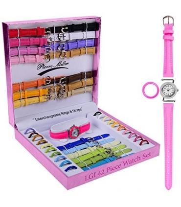ساعت مچی زنانه لاکچری گیفتز با 21 بند و حلقه قابل تعویض Luxury Gifts Inc 42pcs Premium Interchangeable Ladies Watch set