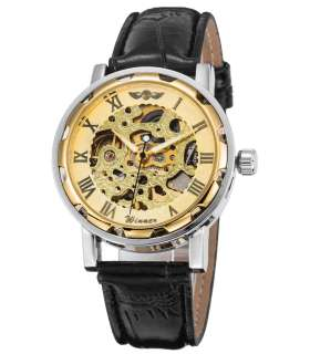 ساعت مچی اسپرت وینر کلاسیک مکانیکال اسکلتون استیم پانک Winner Classic Mechanical Wristwatch Skeleton Steampunk