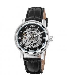 ساعت اسپرت وینر کلاسیک استیم پانک مکانیکال اسکلتون مشکی نقره ای Winner Classic Steampunk Mechanical Wristwatch Black Skeleton
