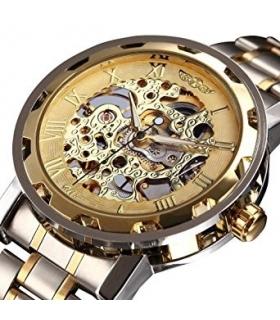 ساعت مچی مردانه وینر لاکچری مکانیکال اسکلتون طلایی Winner Luxury Golden Men Skeleton Mechanical Watch
