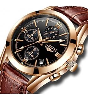 ساعت مچی مردانه لیگ کوارتز آنالوگ اسپرت بند چرمی LIGE Men's Leather Analog Quartz Sport Wristwatch