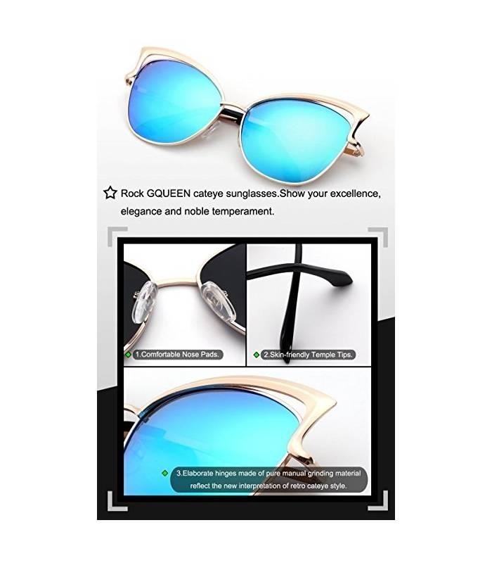 عینک آفتابی زنانه جی کوئین پولارایزد گربه ای GQUEEN Women's Polarized Cat Eye Sunglasses