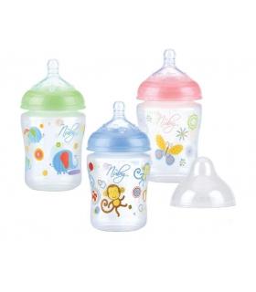 شیشه شیر مسافرتی نابی به همراه پنج عدد کاور Nuby NT92466 Natural Touch Anti-Colic Bottle 180 ml Assorted Colours